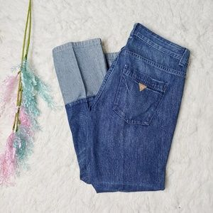 Guess Cuffed Patchwork Straight Leg Jeans